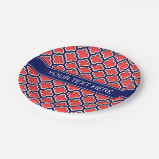 Coral Red Navy 5c Moroccan #5DS Navy Name Monogram Paper Plate