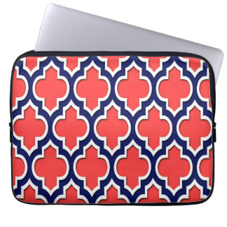 Coral Red Navy White Moroccan Quatrefoil #4DS Laptop Sleeve