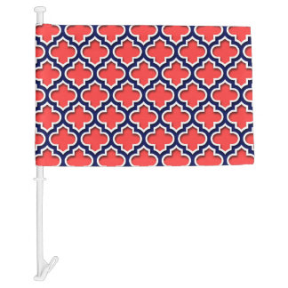 Coral Red, Navy White Moroccan Quatrefoil #5DS Car Flag