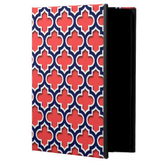 Coral Red, Navy White Moroccan Quatrefoil #5DS Case For iPad Air