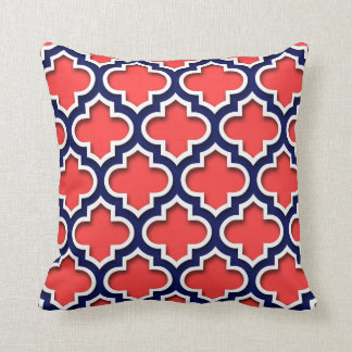 Coral Red, Navy White Moroccan Quatrefoil #5DS Cushion