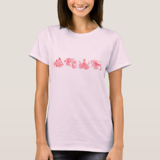 Coral Red Octopus & Fish Marine Life T-Shirt
