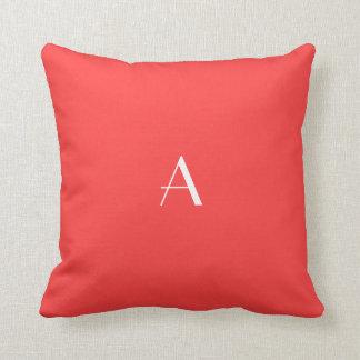Coral Red Pillow w White Monogram