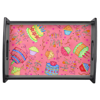 Coral Red Pink Cupcakes / Cake Happy Birthday Art Serving Tray