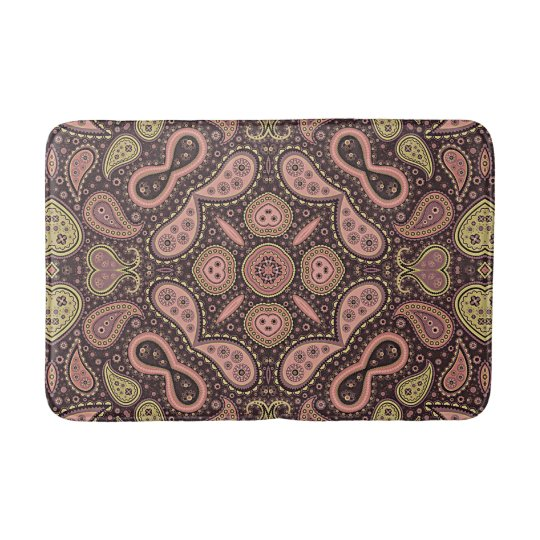 Coral Red Pink Ochre Green Paisley Kaleidoscope Bath