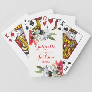 Coral Red Poppy Watercolor Floral Wedding Favor Playing Cards