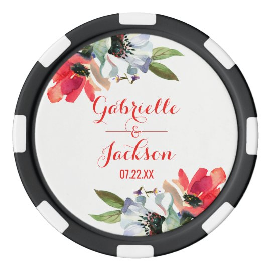 Coral Red Poppy Watercolor Floral Wedding Favour Poker Chips