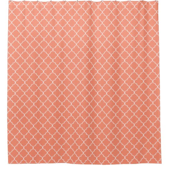 Coral Red Quatrefoil Pattern Shower Curtain
