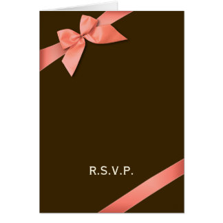 Coral Red Ribbon RSVP Note Card