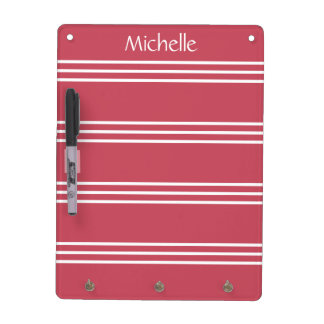Coral Red Stripes custom monogram message board