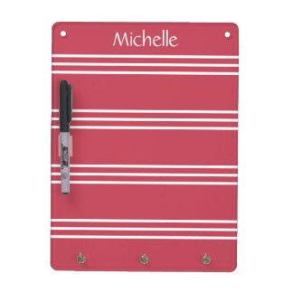 Coral Red Stripes custom monogram message board