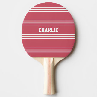 Coral Red Stripes custom monogram paddle