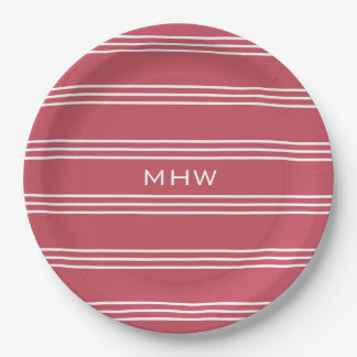 Coral Red Stripes custom monogram paper plates