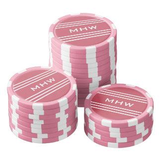 Coral Red Stripes custom monogram poker chips