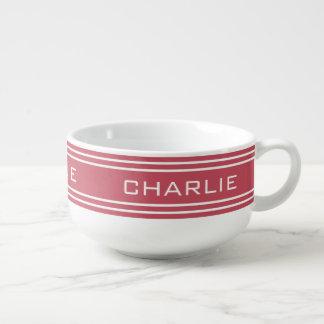 Coral Red Stripes custom monogram soup mug
