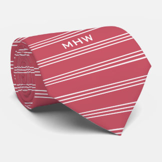 Coral Red Stripes custom monogram tie