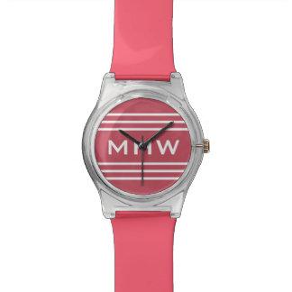 Coral Red Stripes custom monogram watch