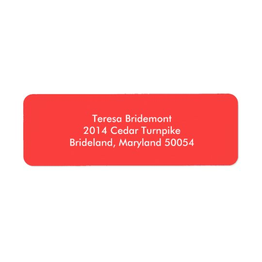 Coral Red Stylish Colour Complementing Return Address Label