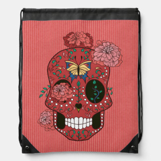 Coral Red Sugar Skull with Marigolds and Butterfly Drawstring Bag