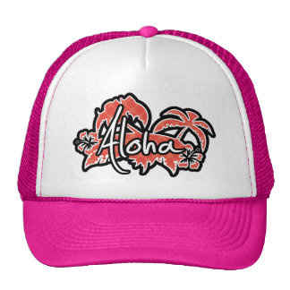 Coral & Red Swirl; Aloha Trucker Hats