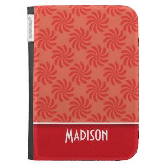 Coral Red Swirl Cute Kindle Keyboard Case