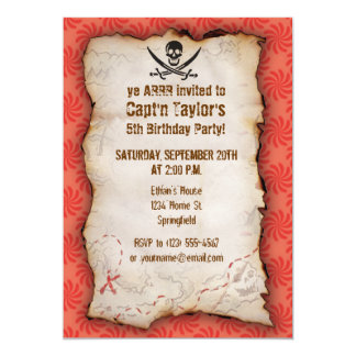Coral & Red Swirl Jolly Roger, Pirate 13 Cm X 18 Cm Invitation Card
