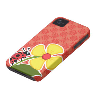 Coral Red Swirl Ladybug iPhone 4 Case-Mate Case