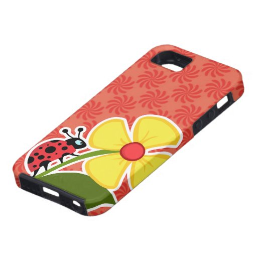 Coral & Red Swirl; Ladybug iPhone 5 Cover