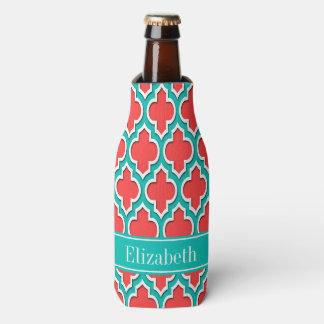Coral Red, Teal Moroccan #4DS Teal Name Monogram Bottle Cooler