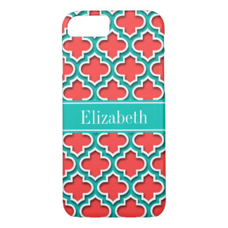 Coral Red, Teal Moroccan #5DS Teal Name Monogram iPhone 8/7 Case
