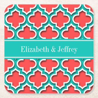 Coral Red, Teal Moroccan #5DS Teal Name Monogram Square Paper Coaster
