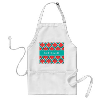 Coral Red, Teal Moroccan #5DS Teal Name Monogram Standard Apron