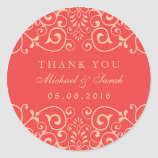 Coral Red Vintage Swirl Flower Thank You Sticker