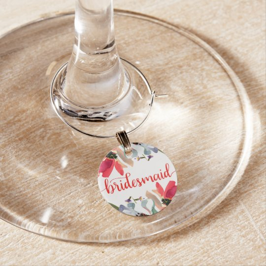 Coral Red Watercolor Floral Bridesmaid Wine Glass Wine