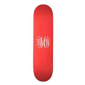 Coral Red White 3 Initials Vine Script Monogram Custom Skate Board