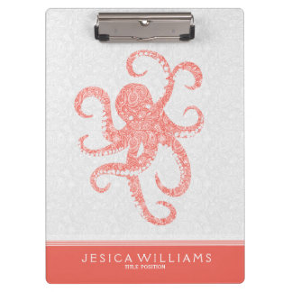 Coral Red White Cute Octopus Illustration Clipboard