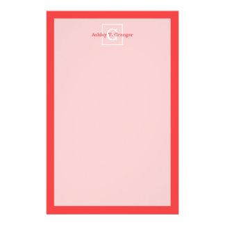 Coral Red White Framed Initial Monogram Custom Stationery