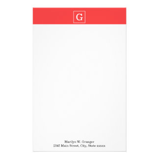Coral Red White Framed Initial Monogram Personalized Stationery