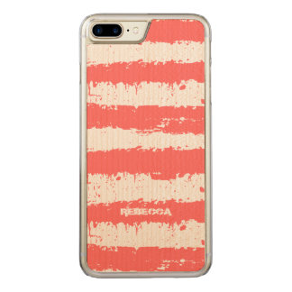Coral-Red & White Grunge Stripes Pattern Carved iPhone 8 Plus/7 Plus Case
