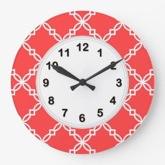 Coral Red White Large Fancy Quatrefoil Pattern Large Clock