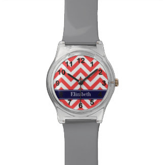 Coral Red White LG Chevron Navy Blue Name Monogram Watch