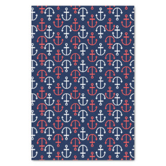 Coral-red & White Nautical Boat Anchors Pattern Tissue Paper