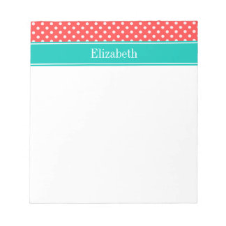 Coral Red, White Polka Dots Teal Name Monogram Notepads