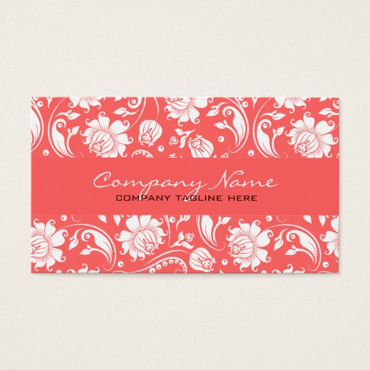 Coral Red & White Vintage Floral Damasks Business