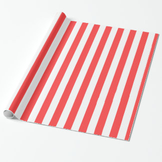 Coral Red White XL Stripes Pattern Wrapping Paper
