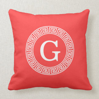 Coral Red Wht Greek Key Rnd Frame Initial Monogram Cushion