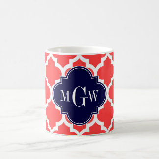 Coral Red Wht Moroccan #5 Navy 3 Initial Monogram Coffee Mug