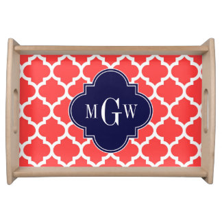 Coral Red Wht Moroccan #5 Navy 3 Initial Monogram Serving Tray