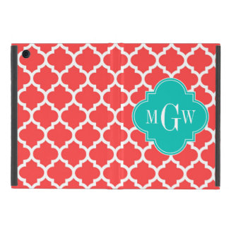 Coral Red Wht Moroccan #5 Teal 3 Initial Monogram Case For iPad Mini