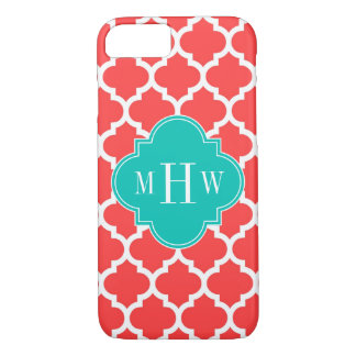 Coral Red Wht Moroccan #5 Teal 3 Initial Monogram iPhone 7 Case